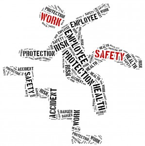 Safety at work concept. Word cloud illustration.